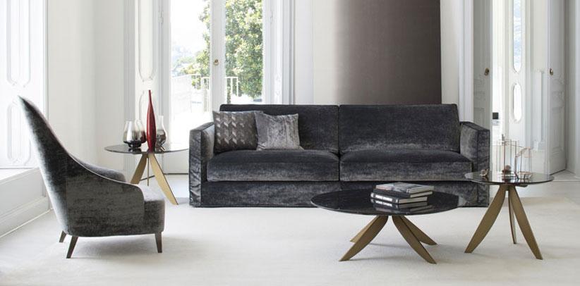 Canapé moderne Danton en velours et lin