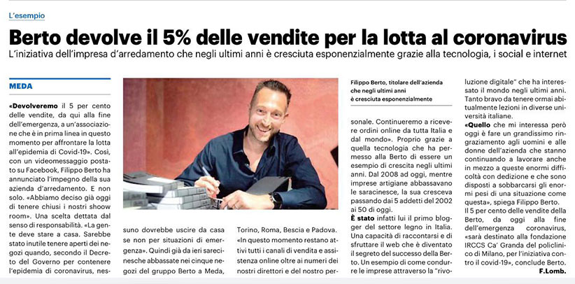 BertO destine 5% de ses ventes à la lutte contre le Covid-19