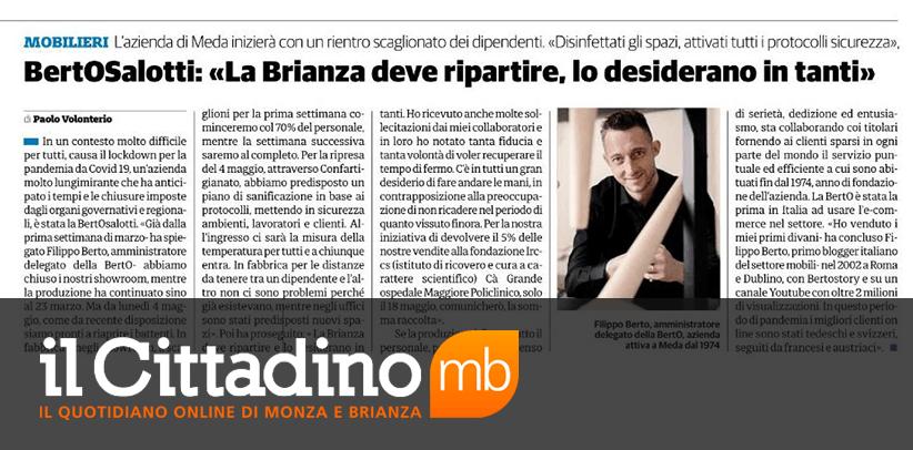 Interview à Filippo Berto Il Cittadino de Monza et de la Brianza