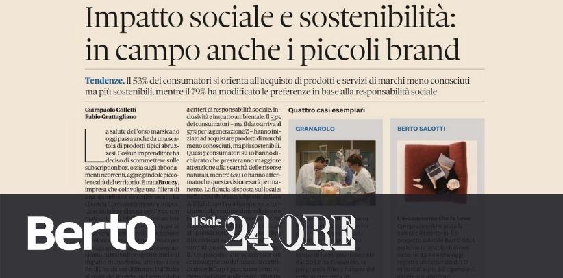 BertO dans Il Sole 24 Ore: cas exemplaire de responsabilité sociale